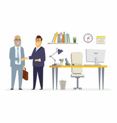 Business partners shake hands - modern cartoon vector