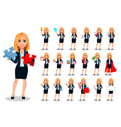 Business woman in office style clothes set vector