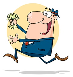 Businessman Running With Dollars In Hand vector image