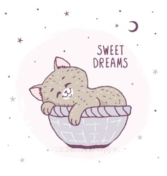Cartoon kitten sleeping vector