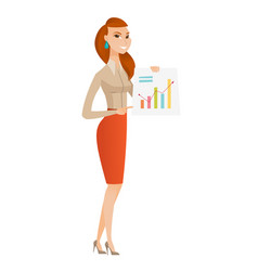 Caucasian business woman showing financial chart vector