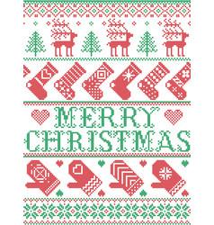 Christmas tree reindeer mitten stocking ornate vector