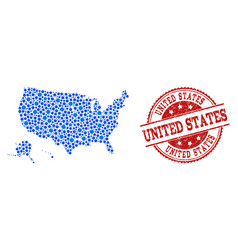 collage map of usa territories with connected dots vector image