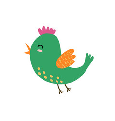 Cute flying bird green bird isolated element vector