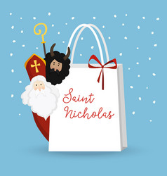 cute st nicholas with devil and falling snow vector image