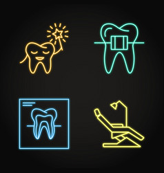 dental clinic icon set in neon line style vector image