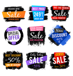 discount and price tag sale banners with grange vector image