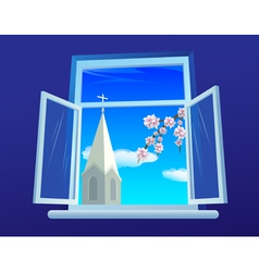 Easter window vector