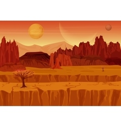 Fairy game Sci-fi red mars Alien Landscape Nature vector image