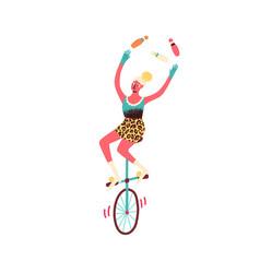 Female circus artist juggle bowling pins balancing vector