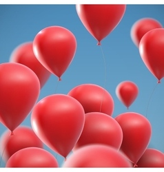 Flying realistic glossy balloons vector