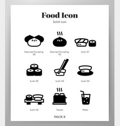 Food icons solid pack vector