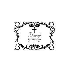 Funeral ornaments with deepest sympathy lettering vector