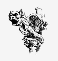 gargoyle chimera of notre-dame de paris engraved vector image