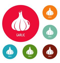 Garlic icons circle set vector