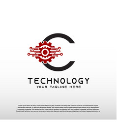 Gear technology logo with initial c letter future vector