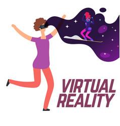 girl skiing with virtual reality glasses vector image