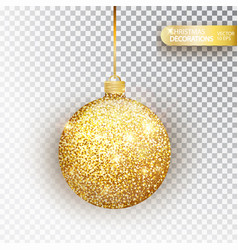 golden glitter christmas bauble glitter vector image