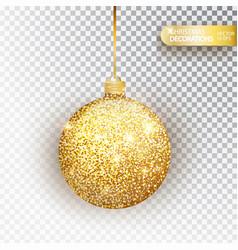 golden glitter christmas bauble golden glitter vector image