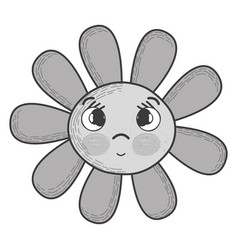 Grayscale kawaii flower surprised face and eyes vector