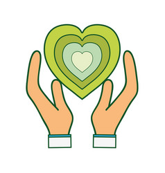 Green heart to love ecology symbol in the hands vector