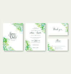 green wedding invitation card greeting templates vector image