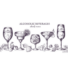 Hand drawn cocktails vintage alcoholic menu vector