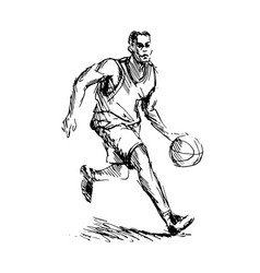 Hand sketch of basketball player vector