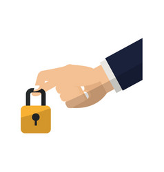 Hand with padlock vector