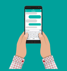 Hands and smartphone with messaging sms app vector