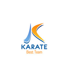 k letter icon for karate team club vector image