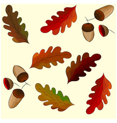 leaves of oak and acorn seamless pattern vector image