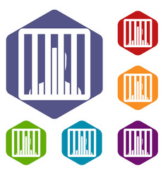 man behind jail bars icons set vector image