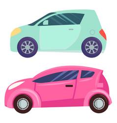 minicar smart cars set automobile transports vector image