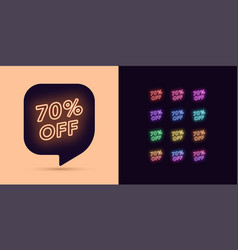 neon discount tag 70 percentage off offer sale vector image