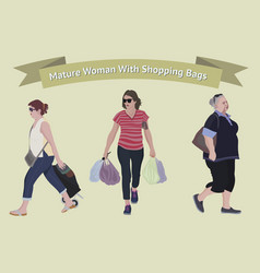 older woman with shopping bags vector image