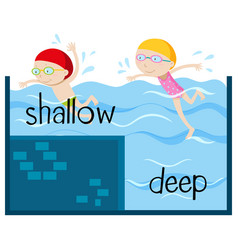 opposite wordcard for shallow and deep vector image