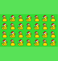 pattern yellow rubber duck in santa hat vector image