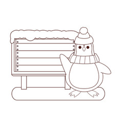 penguin and wooden sign brown lines vector image