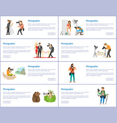 Photographer profession and hobby web banners set vector