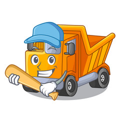 playing baseball cartoon truck on the table learn vector image