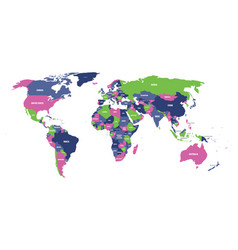 political map of world in four colors with white vector image