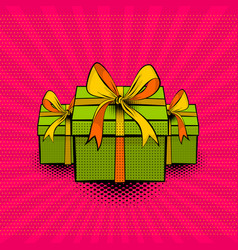 Pop art collection gift box beautiful ribbon vector