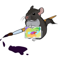 poster with cute cartoon painter chinchilla vector image