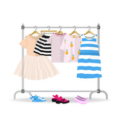 Rack with colorful summer children clothes hanging vector