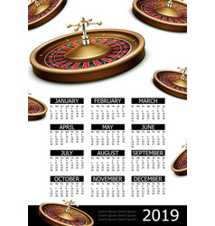 realistic casino 2019 year calendar poster vector image