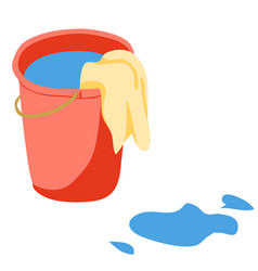 Red bucket with water and rag vector