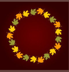 Round wreath of autumn leaves vector