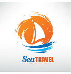 Sail boat on seascape background stylized symbol vector