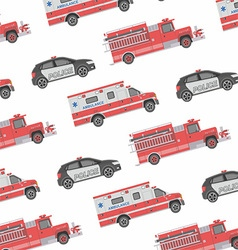 Seamless pattern of the fire engine ambulance an vector